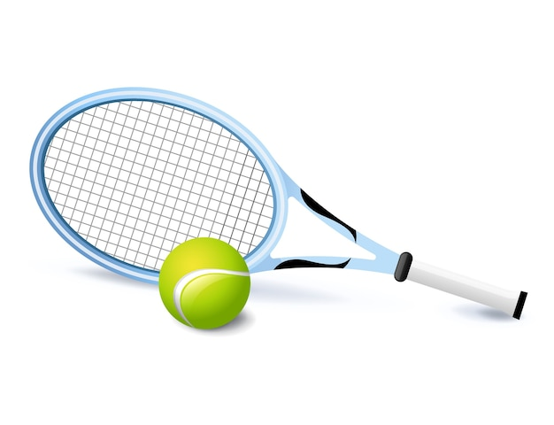 Теннисная ракетка и значок зеленого мяча изолированы, спортивный инвентарь