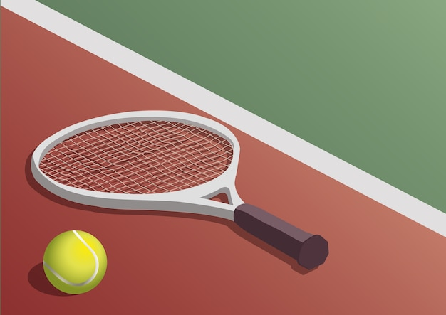 Tennis racket and ball in the court