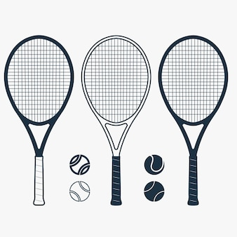 Tennis racket and ball, gear for the game, equipment for competition.