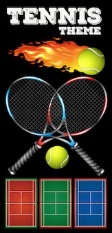 Tennis rackets and ball on poster