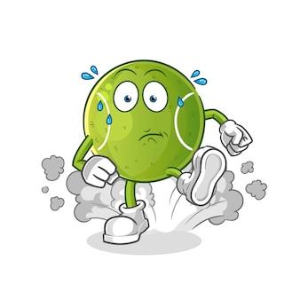 Tennis running illustration. character