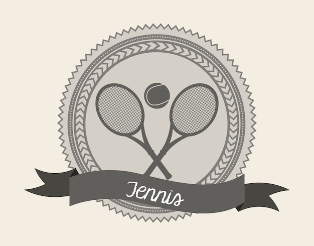 Tennis seal over cream background vector illustration