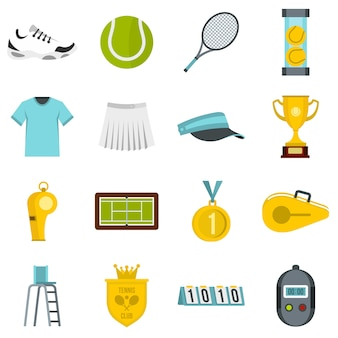 Tennis set flat icons