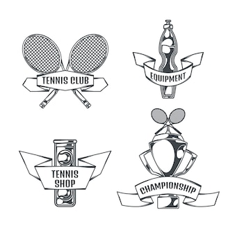 Tennis set of four isolated logos in vintage style