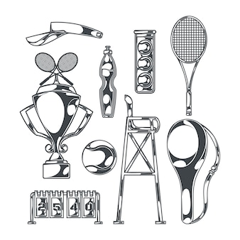 Tennis set with isolated monochrome images of sport equipment with racquets and cup