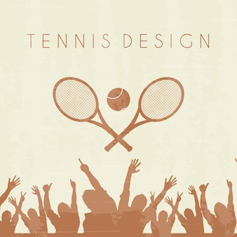 Tennis silhouette over brown background vector illustration