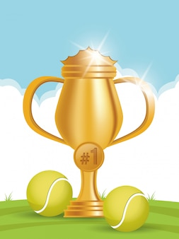 Tennis sport balls with trophy cup