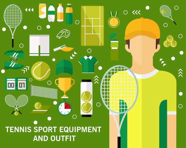 Tennis sport equipment and outfit concept background