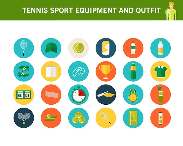 Tennis sport equipment and outfit concept flat icons.