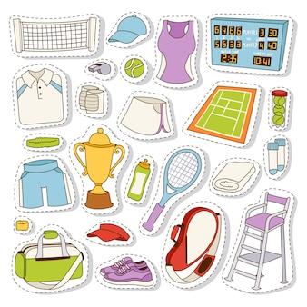 Tennis stickers set vector.
