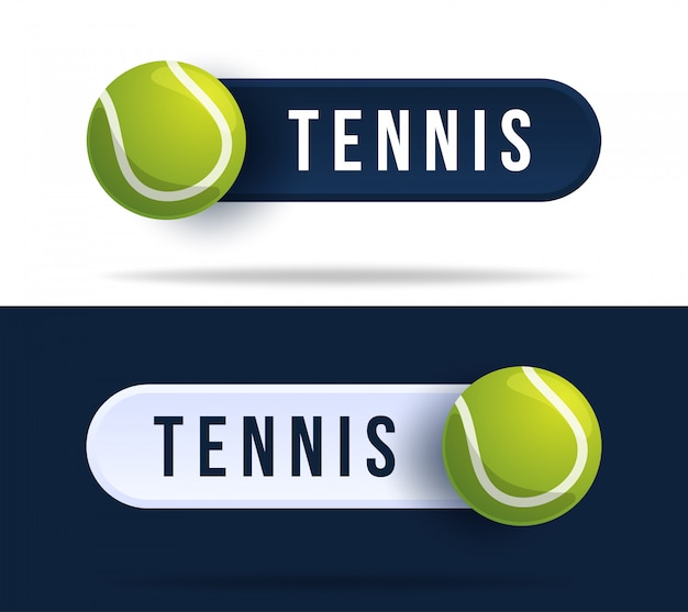 Tennis toggle switch buttons. illustration with basketball ball and web button with text