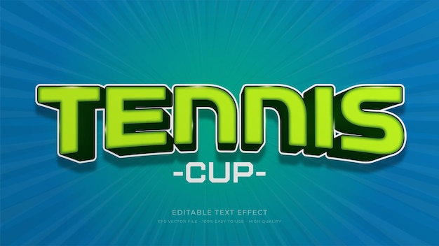 테니스 타이포그래피 편집 가능한 텍스트 효과