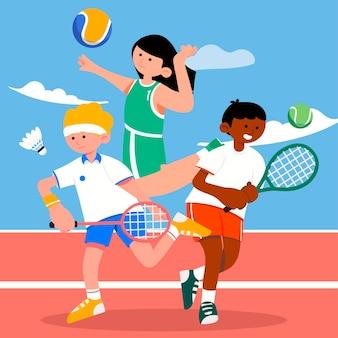 テニス、バレーボール、バドミントンは、あらゆるレベルのスポーツに含まれる競技会です。