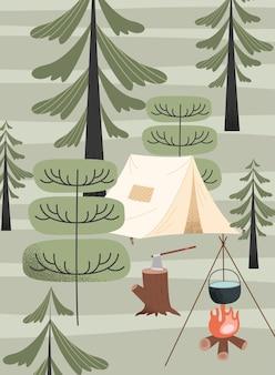Палатка и место для кемпинга у костра