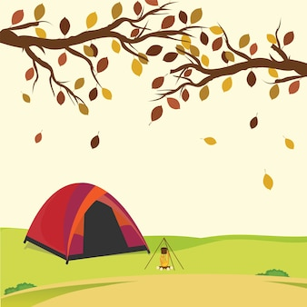 Tent in the autumn forest,.vector illustration.