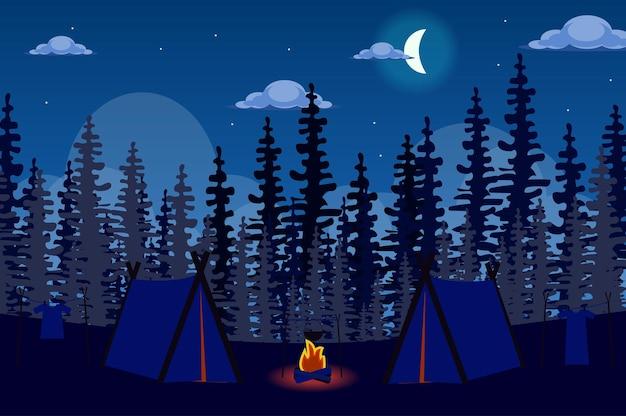 플랫 스타일의 밤 풍경에 숲에서 텐트 캠프와 모닥불