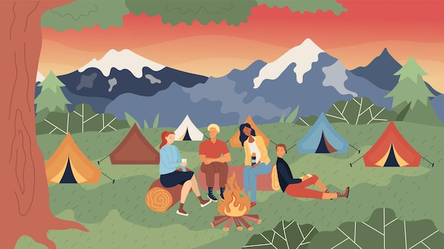Tent camp concept. group of people or family are sitting at the fire, communicating and having a good time. beautiful tent camp with evening mountains view.