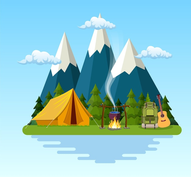 Tent, campfire, mountains, forest and water.