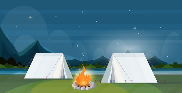 Tent camping area with campfire night campsite summer camp travel vacation concept mountains landscape beautiful nature background flat horizontal