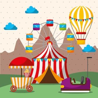 Tent ferris wheel hot air balloon