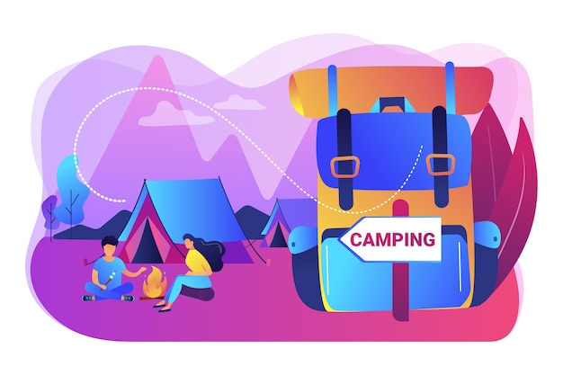 Tent in forest, tourists hiking, backpacking holiday. summer camping, family camping adventure, sleepaway camp, best camping gears here concept. bright vibrant violet  isolated illustration