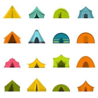Tent forms icons set in flat style