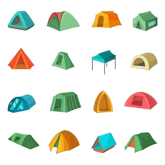 Tent forms icons set