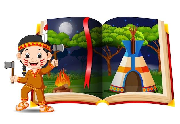 本とアメリカ人のインドのテントハウスの風景