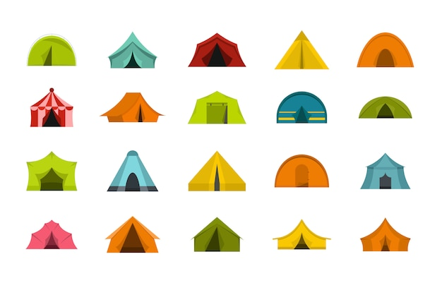Tent icon set. flat set of tent vector icons collection isolated