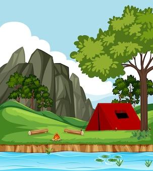 公園のイラストシーンのテント Premiumベクター