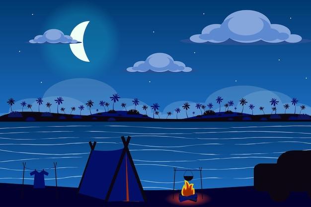 플랫 스타일의 밤 풍경에 열대 섬의 해안에 텐트