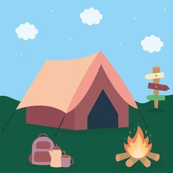 숲과 모닥불 위에 텐트