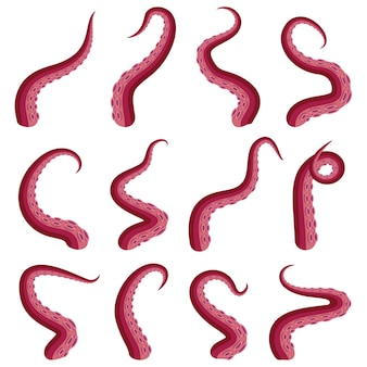 촉수 문어 세트 수중 동물 크라켄 또는 오징어 붉은 촉수 컷 부분 흰색으로 격리