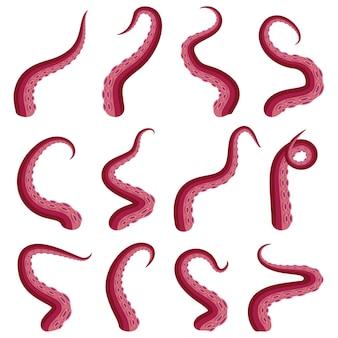Tentacoli polpo set animale subacqueo kraken o calamaro tentacolo rosso parte tagliata isolata su bianco