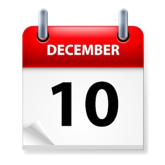Tenth in december calendar icon on white background
