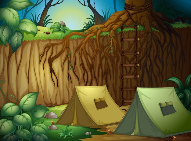 Палатки для кемпинга в лесу
