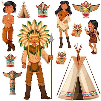 ネイティブアメリカンインディアンの人々とtepeeイラスト