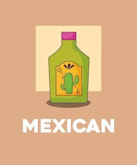 茶色の背景、カラフルなデザインの上にテキーラのボトルのアイコン。