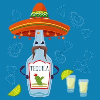 Бутылка текилы с шляпой сомбреро и украшенным усами фоном традиционный мексиканский алкоголь