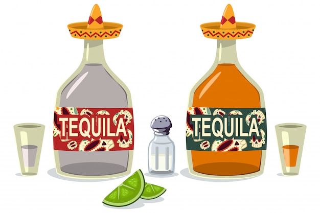 Tequila bottles and glasses with lime slices and salt. cartoon flat icons of mexican alcoholic beverage isolated on a white background.