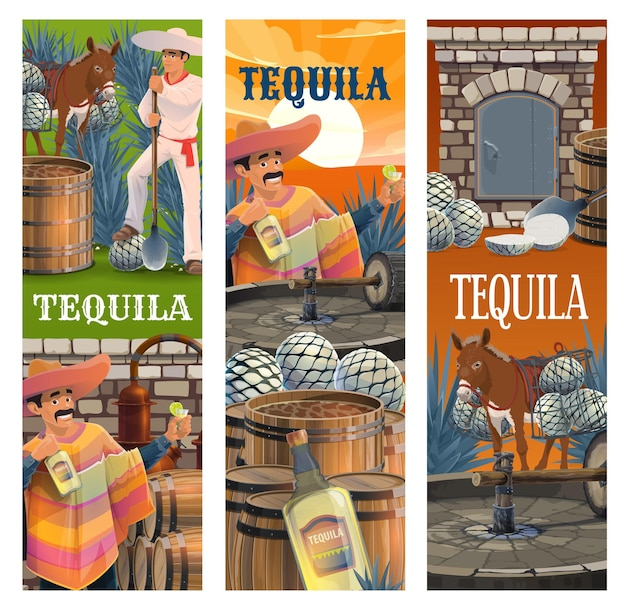 Tequila mexican alcohol drink production banners