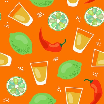 Tequila pattern vector seamless pattern with alcohol in shots limes and chili peppers