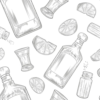 Tequila seamless pattern. shot glass and bottle tequila, salt, lime