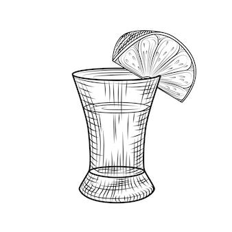 テキーラショットと白い背景で分離されたライムをスライスします。アルコールのフルショットグラス。ヴィンテージ刻印スタイル。ベクトルイラスト
