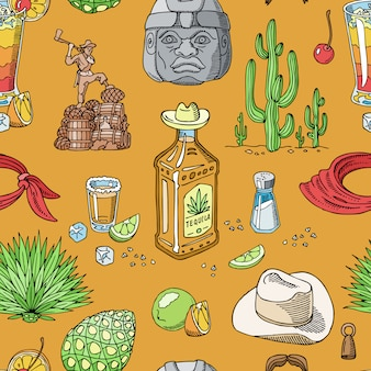 Tequila shot  mexican alcohol in bottle drink with lime and salt in taqueria in mexico illustration set of tropical beverage