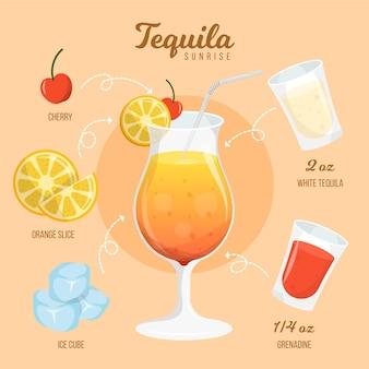Tequila sunrise cocktail recipe design
