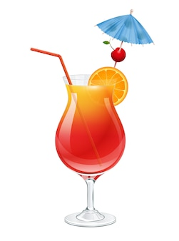 Tequila sunrise cocktail with cherry, slice of orange, party umbrella and red straw tube decoration.  on white background  illustration.