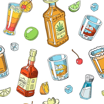 Tequila and whiskey drink liquid seamless pattern