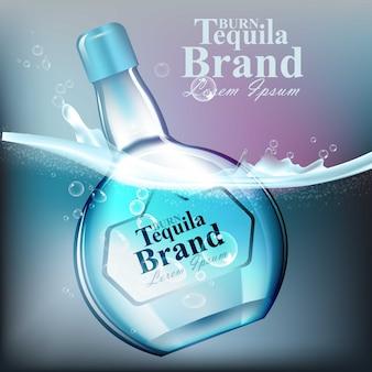 Текилла стеклянная бутылка вектор реалистично. макет продукта