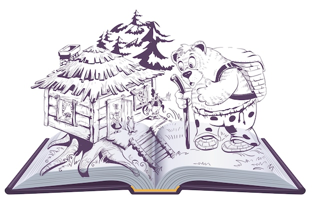 Teremok russian fairy tale open book illustration. bear and house with animals. isolated on white cartoon